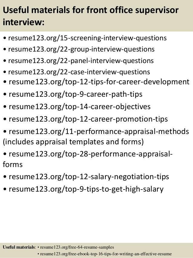 Resume Front Office Supervisor - Vosvete.Net