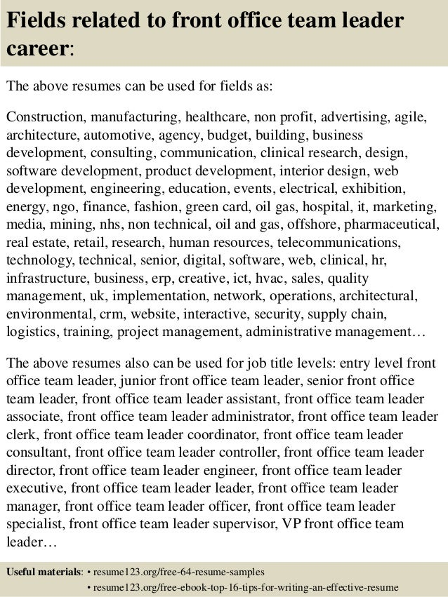 ... 16. Fields Related To Front Office Team Leader ...