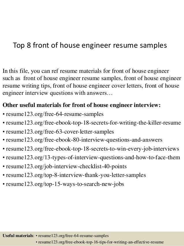 Top 8 Front Of House Engineer Resume Samples Rh Slideshare Net