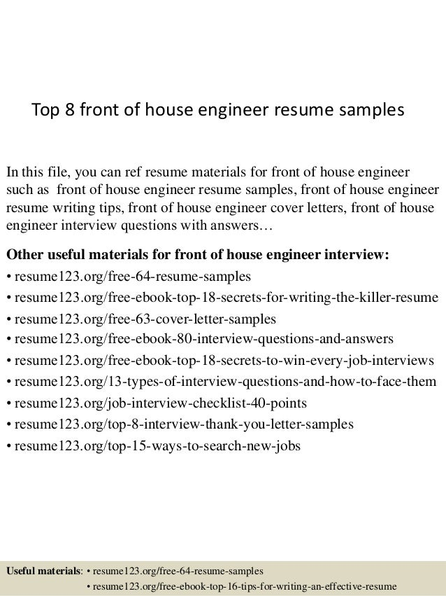 Top 8 front of house engineer resume samples In this file, you can ref  resume ...