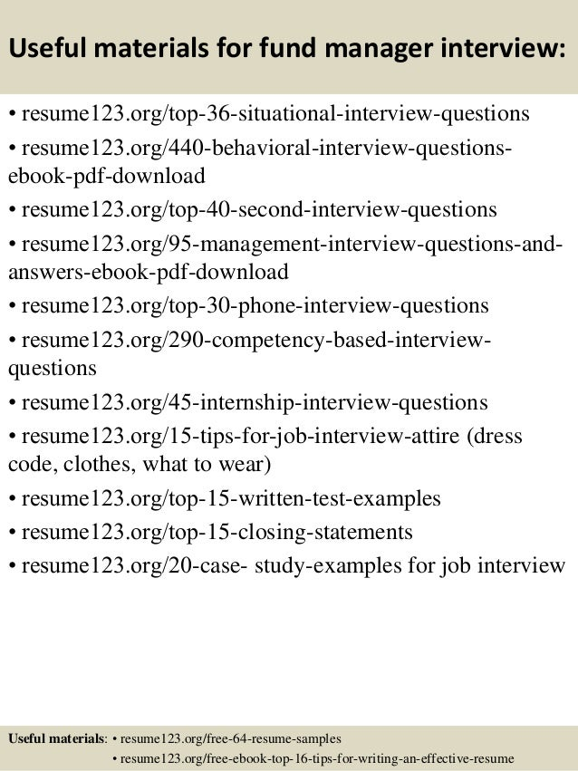 top 8 fund manager resume samples