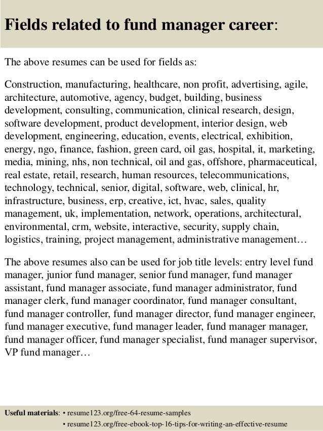 fund manager resumes