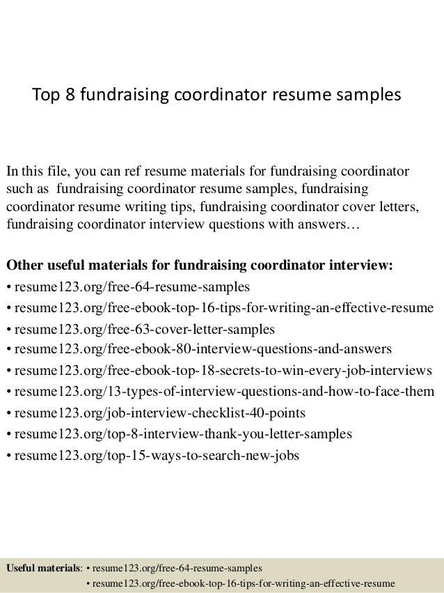 Top 8 Fundraising Coordinator Resume Samples