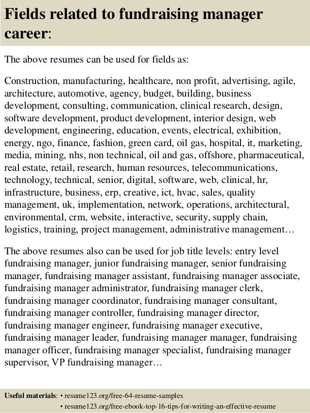 Top 8 Fundraising Manager Resume Samples