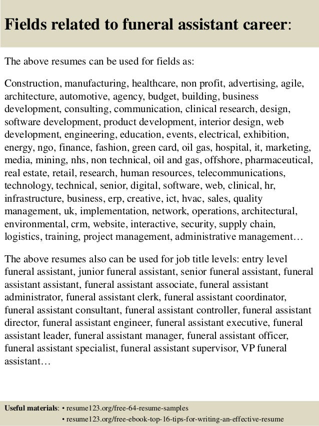 ... 16. Fields Related To Funeral Assistant ... Photo