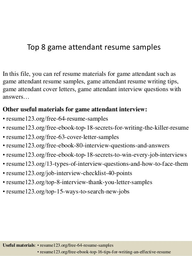 Top 8 Game Attendant Resume Samples