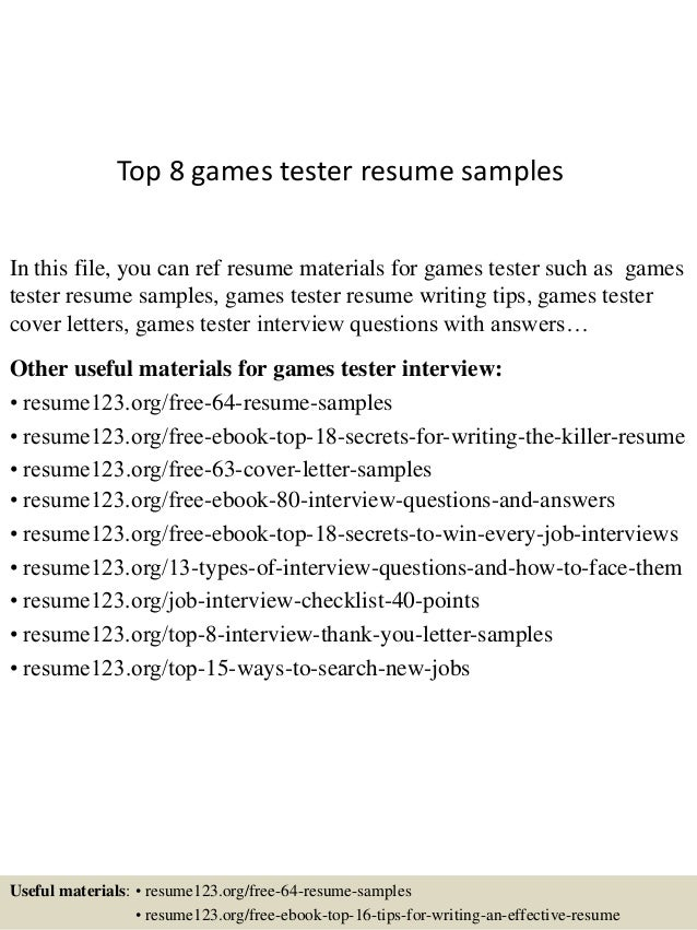 top 8 games tester resume samples