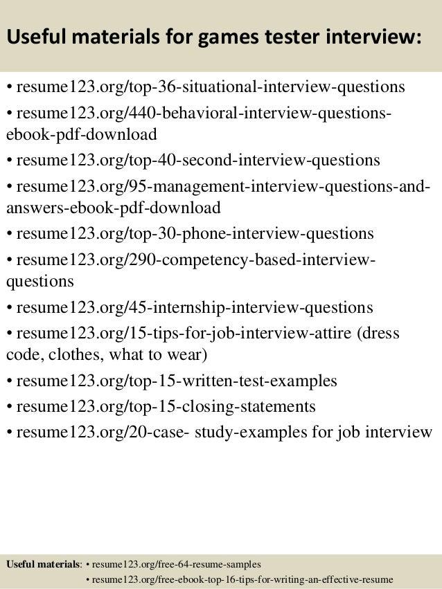Game Test Engineer Sample Resume | Resume CV Cover Letter