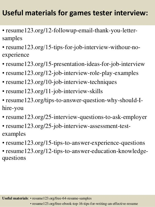 Top 8 Games Tester Resume Samples   Tester Resume