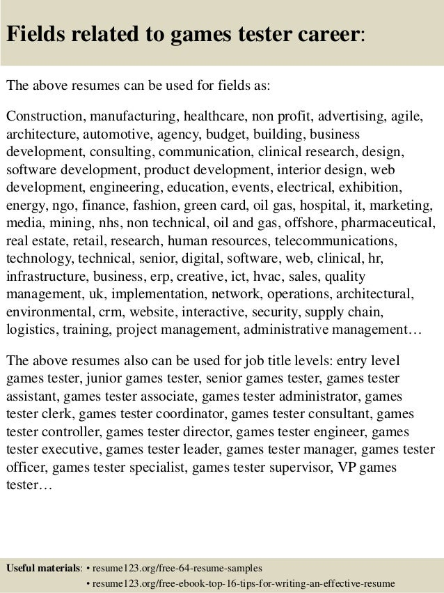 Old Fashioned Game Testing Resume For Fresher Component - Examples ...