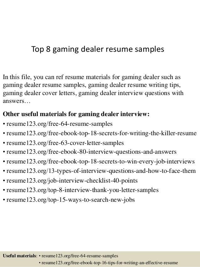 Casino gaming dealer resume mohawk raceway casino