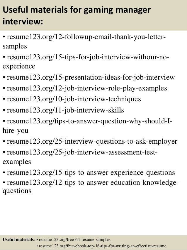 top 8 gaming manager resume samples