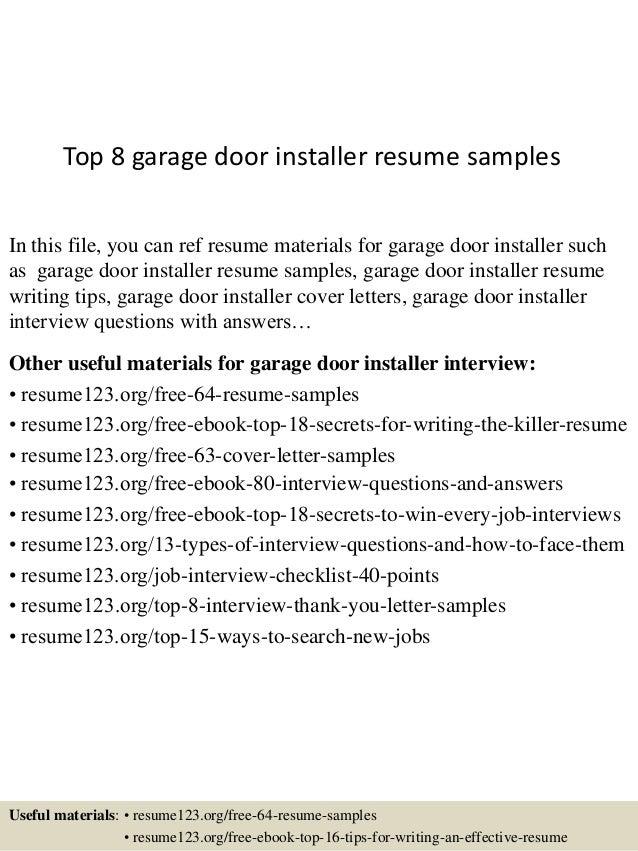 Garage door installer resume