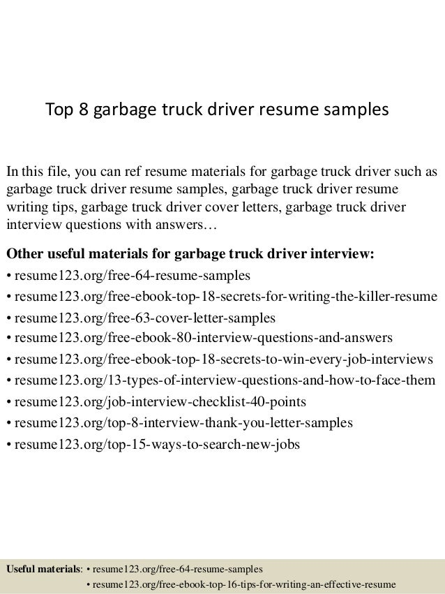 top 8 garbage truck driver resume samples in this file you can ref resume materials - Resume For Truck Driver