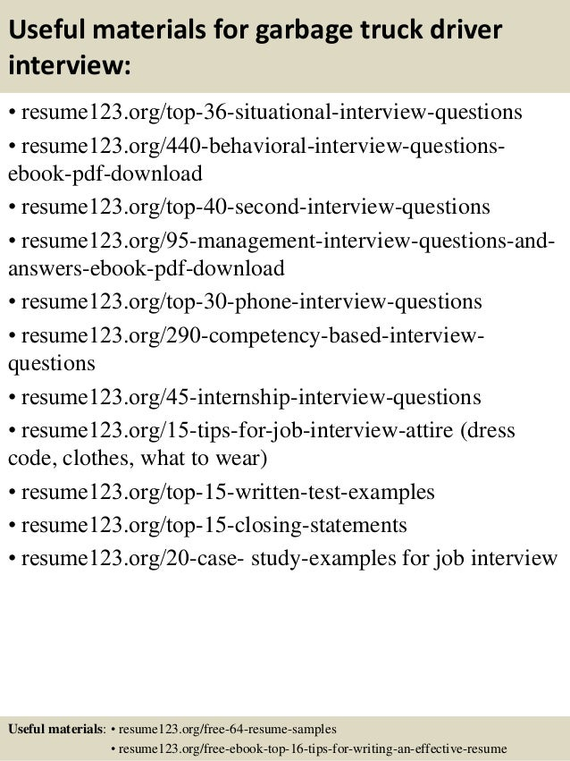 Top  Garbage Truck Driver Resume Samples