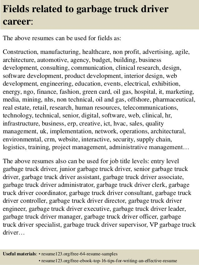 Lovely ... 16. Fields Related To Garbage Truck Driver Career: The Above Resumes ...