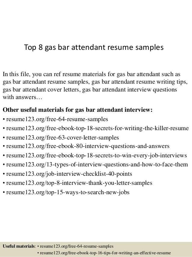 Bar attendant resume