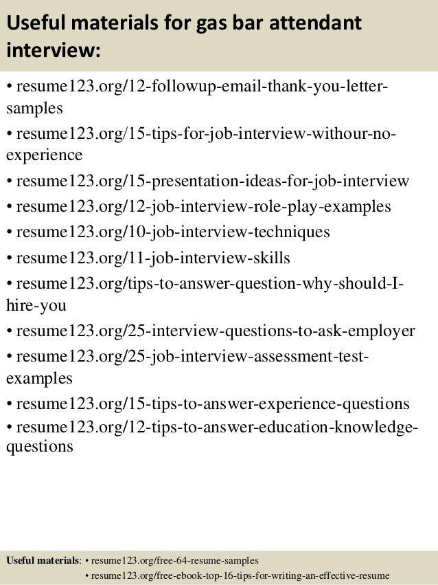 gas station attendant resume