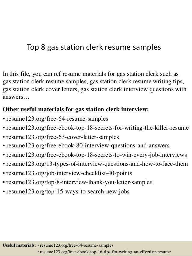 Amazing Resume Samples Clerk Resumesgas Station Clerk