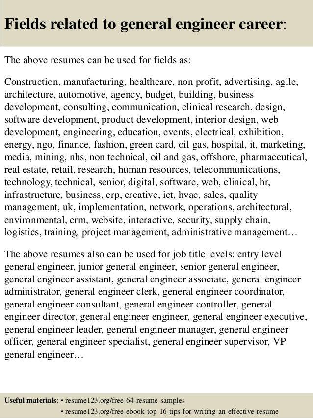 top 8 general engineer resume samples