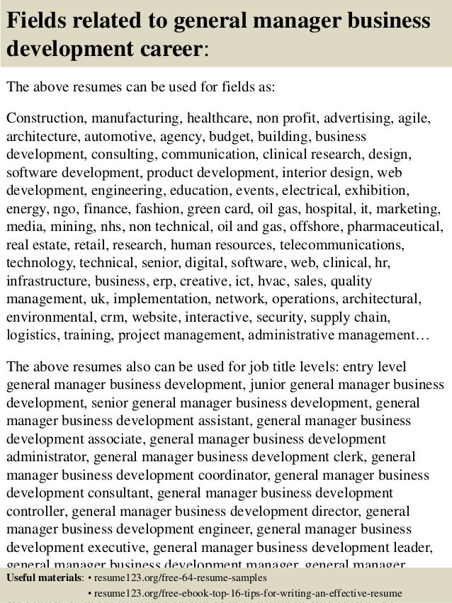 16 fields related to general manager business development - Business Development Sample Resume