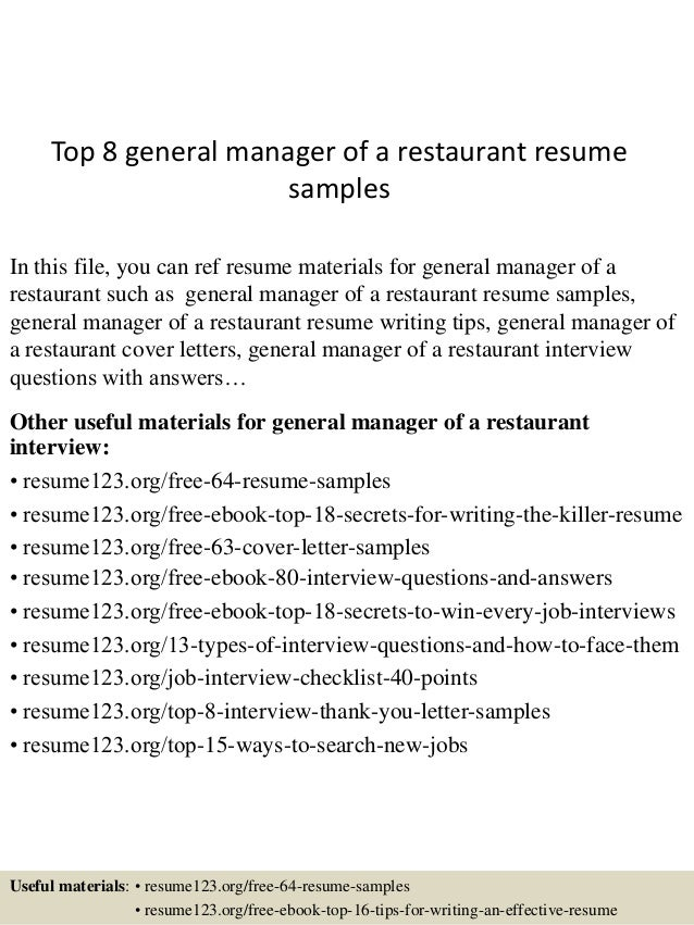 Top 8 General Manager Of A Restaurant Resume Samples