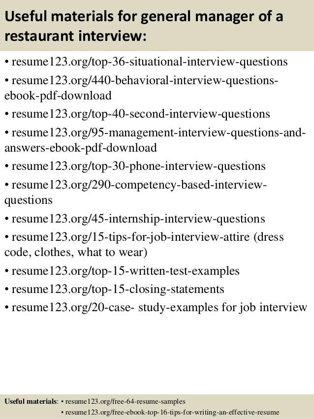 top 8 general manager of a restaurant resume samples - Restaurant Resume Templates