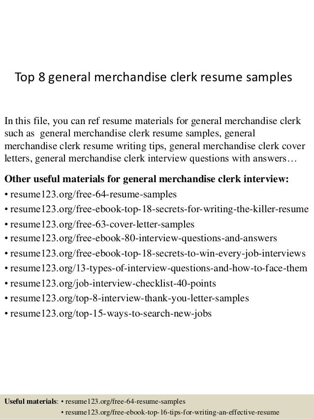 High Quality Top 8 General Merchandise Clerk Resume Samples In This File, You Can Ref  Resume Materials ...