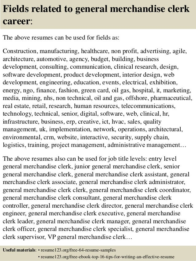 ... 16. Fields Related To General Merchandise Clerk ...