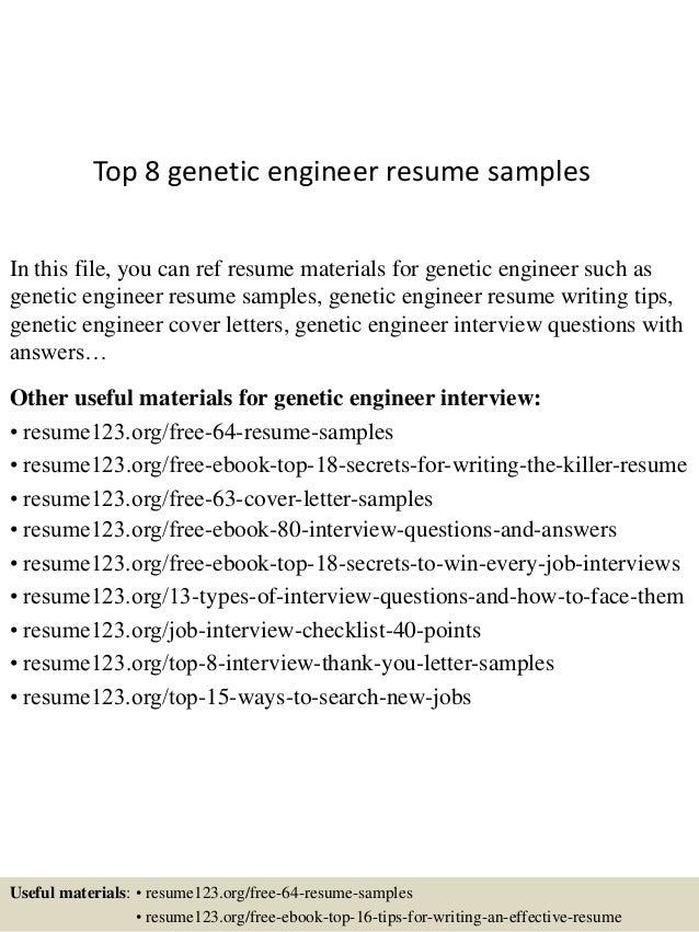 top 8 genetic engineer resume samples in this file you can ref resume materials for - Genetic Engineer Sample Resume