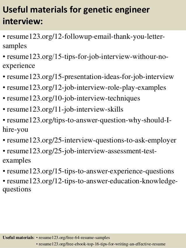 Top 8 genetic engineer resume samples