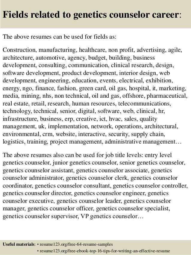 ... 16. Fields Related To Genetics Counselor ...