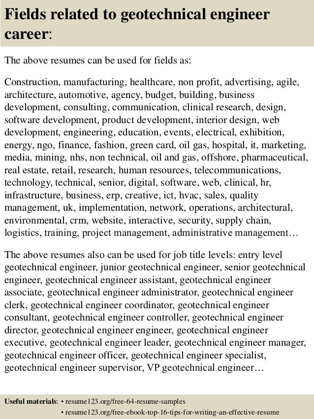 16 fields related to geotechnical engineer - Geotechnical Engineer Sample Resume