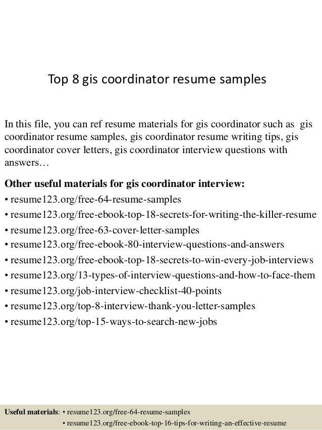 Top 8 Gis Coordinator Resume Samples