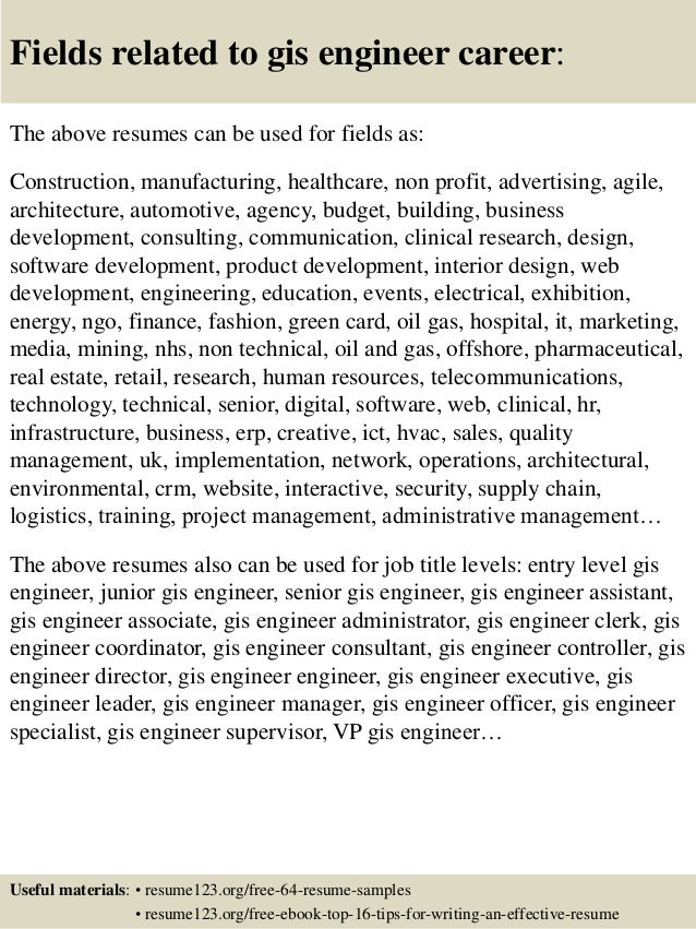 top 8 gis engineer resume samples