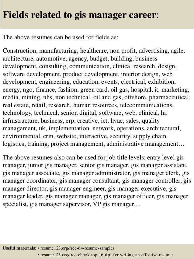 16 fields related to gis - Gis Consultant Sample Resume