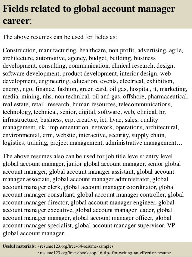 Top 8 Global Account Manager Resume Samples