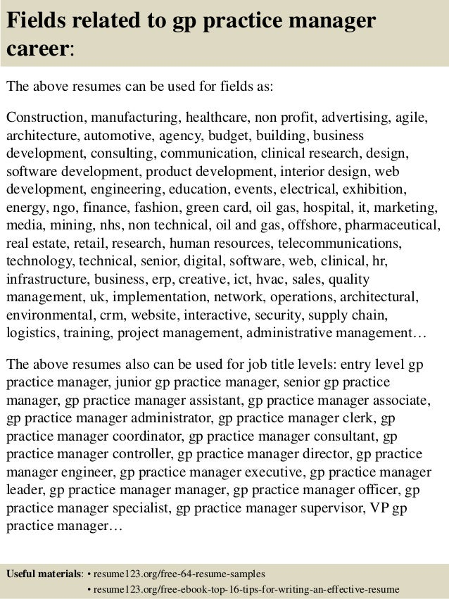 16 fields related to gp practice manager