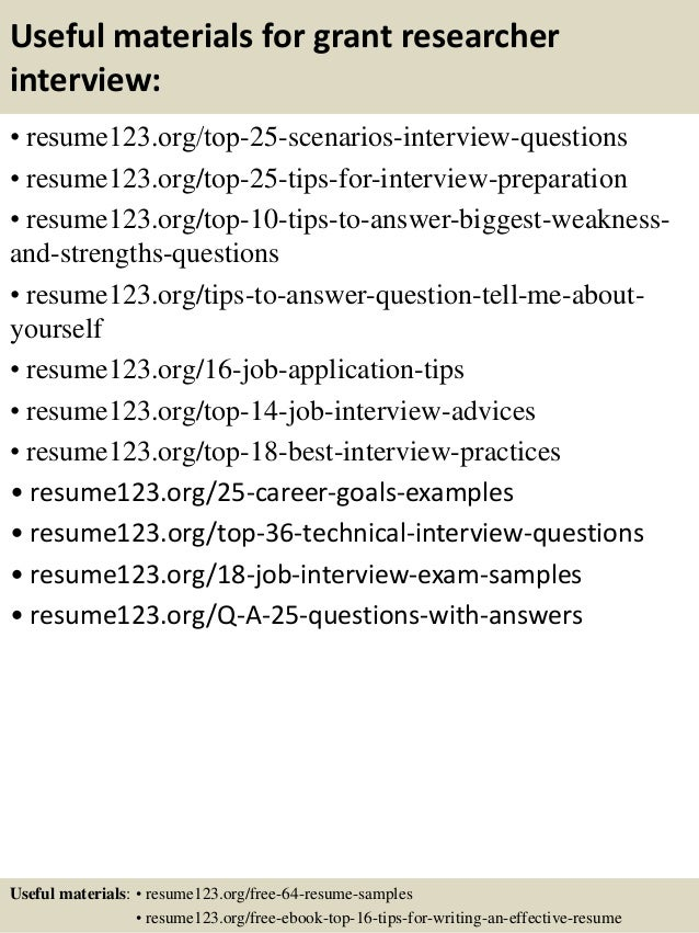 top 8 grant researcher resume samples