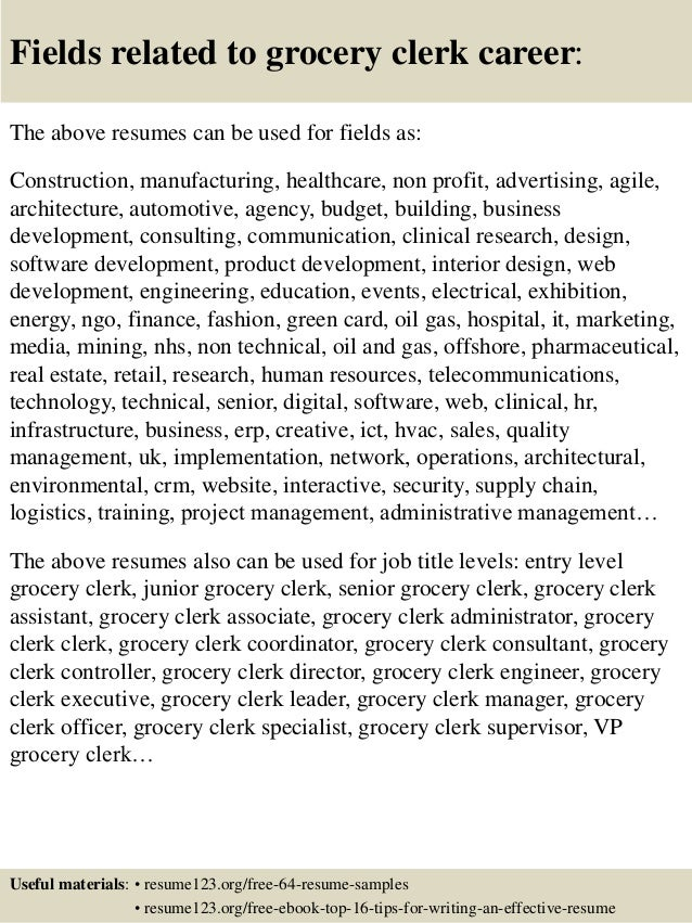Top 8 grocery clerk resume samples
