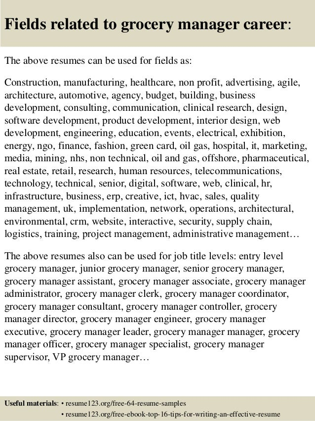 16 Fields Related To Grocery Manager