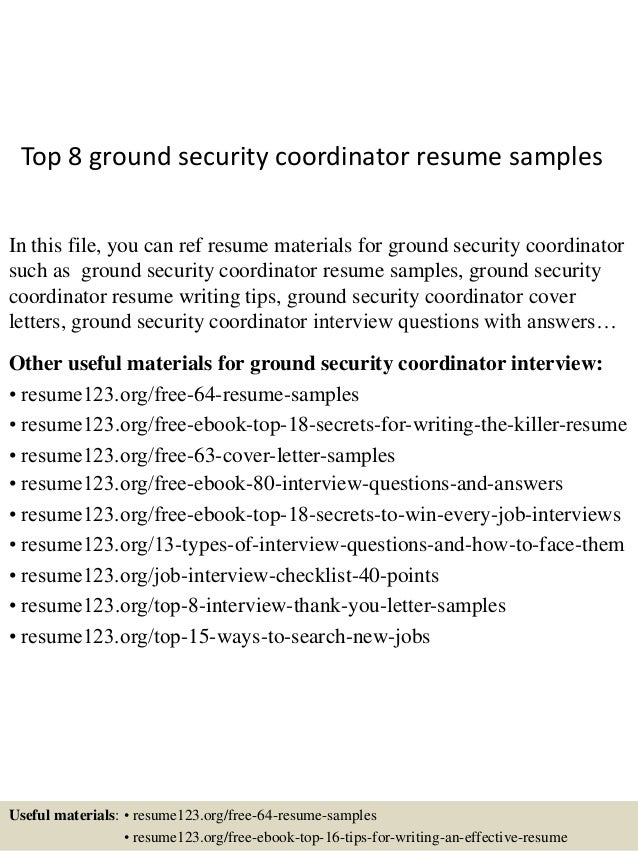 top 8 ground security coordinator resume samples