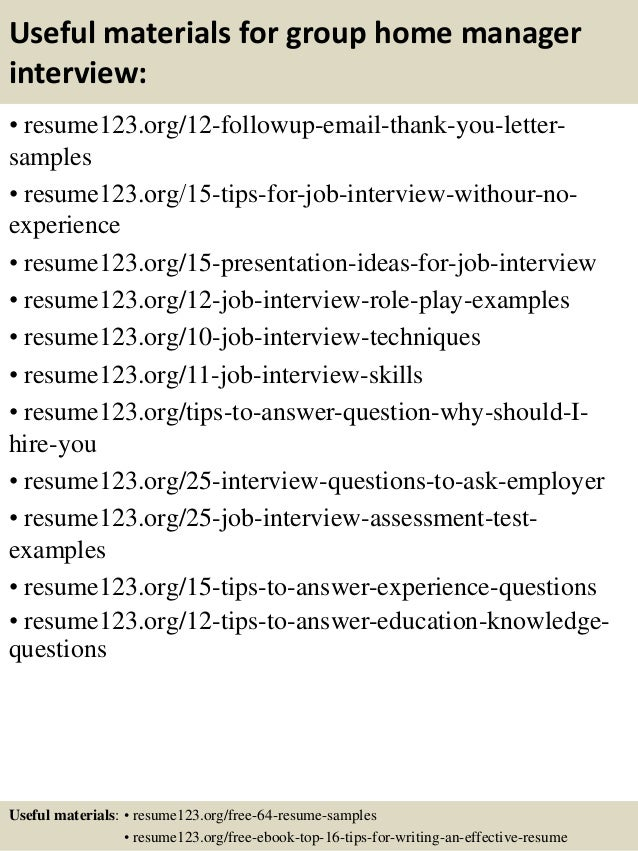 useful materials for group home manager interview resume123 org 12