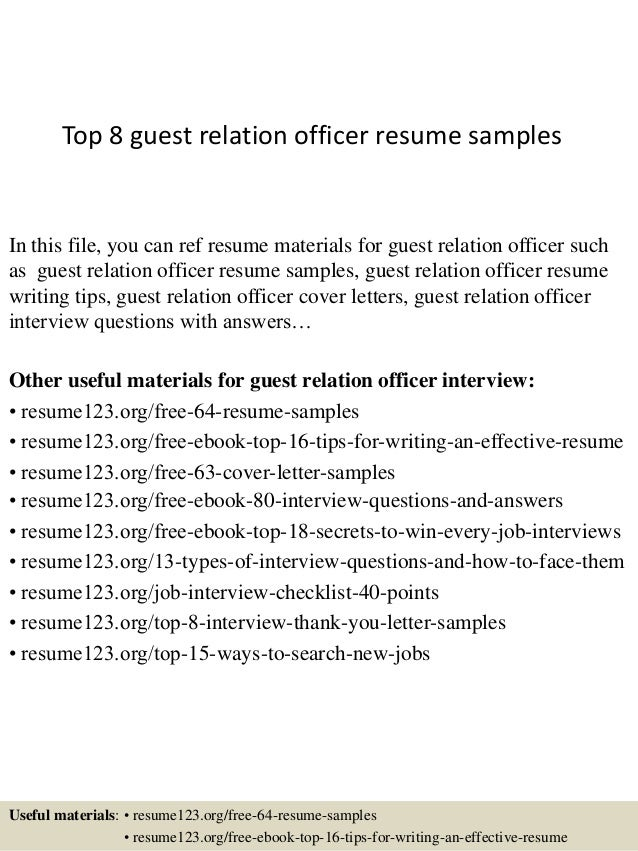Top 8 Guest Relation Officer Resume Samples In This File, You Can Ref Resume  Materials ...