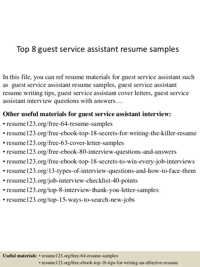 Top 8 guest service assistant resume samples