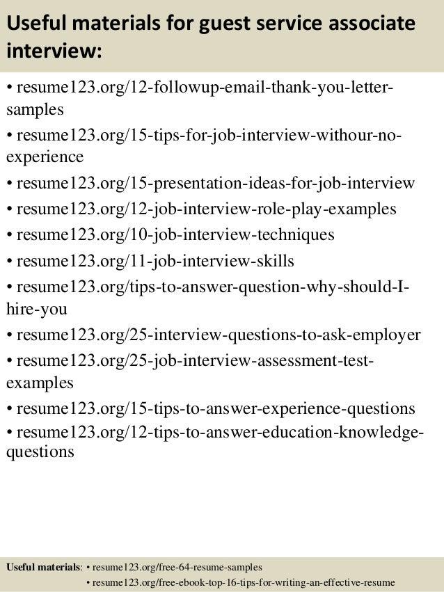 top 8 guest service associate resume samples