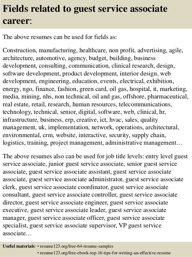... 16. Fields Related To Guest Service ...  Guest Services Resume