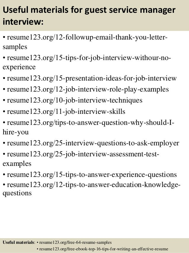 14 useful materials for guest service - Guest Services Cover Letter