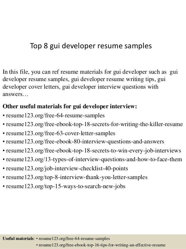 top 8 gui developer resume samples in this file you can ref resume materials for - Resume Sample For Ui Developer
