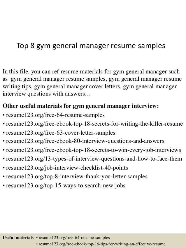 gym general manager resume